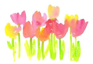 Bright tulips in watercolor