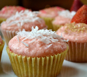 Champagne coconut cupcakes