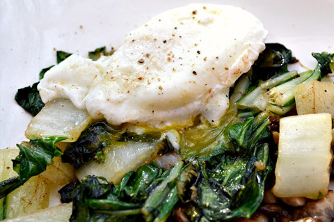 Poached egg scramble