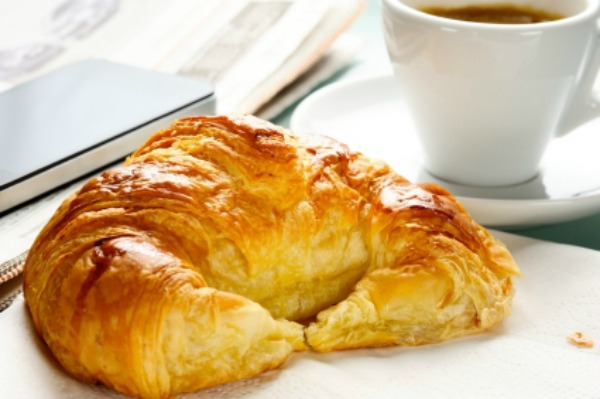 French croissant and coffee