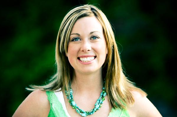 Happy woman wearing green