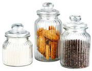 Home basics 3-piece glass jar set