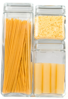Organized jars of pasta