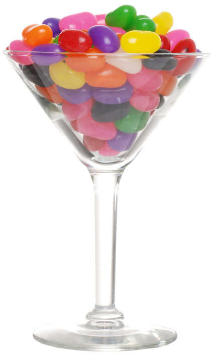 Jelly beans in martini glass