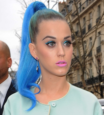 Katy Perry Blue Hair on Celeb Hairstyle Of The Week  Katy Perry S Cute Ponytail