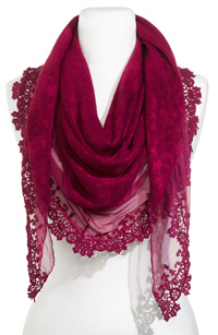 Eyeful Lace Trim Triangle Scarf ($38)