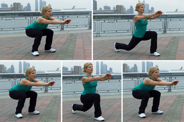 Squat Hold with Reverse Lunge