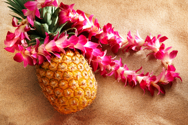 flower lei over pineapple