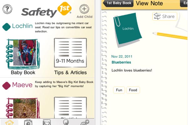 Safety 1st Baby Book iPhone app