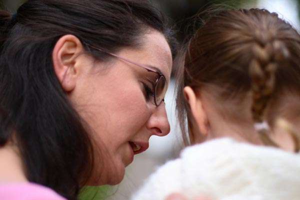 Woman talking to her daughter about sex