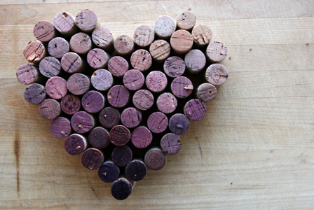 Wine cork heart shape
