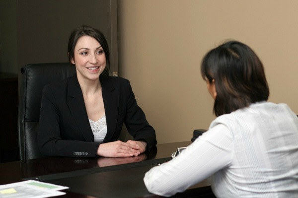 Woman at a job interview