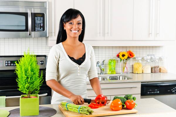Woman chopping veggies