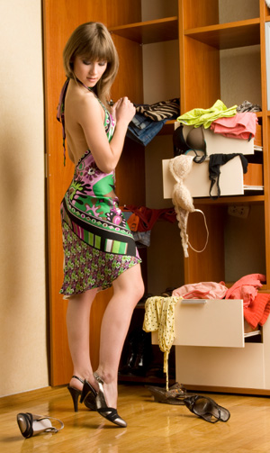Woman getting dressed