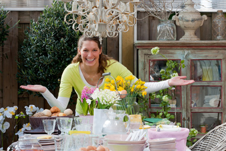 Woman setting up Easter brunch