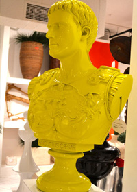 A bold bust of Caesar in chartreuse from The Phillips Collection.