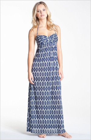 s Robin Piccone Ikat Print Strapless Cover-Up Dress