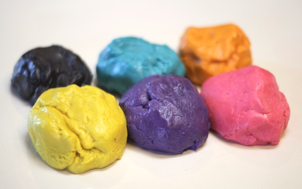 Colored dough balls