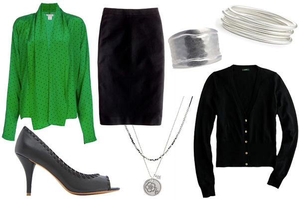 Work chic style with a black cardigan