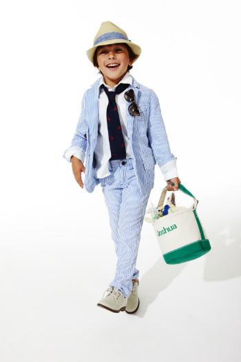 Boy in seersucker outfit