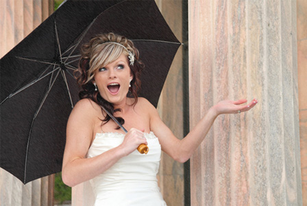 Bride on rainy day