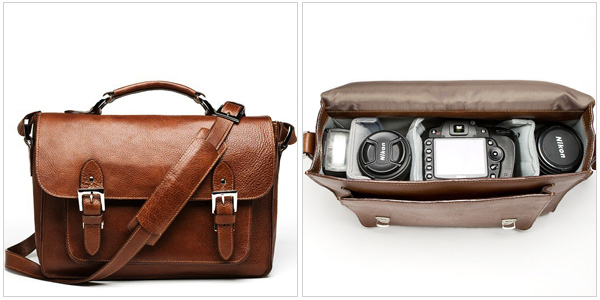 The Brooklyn camera bag in chestnut, onabags.com, $309