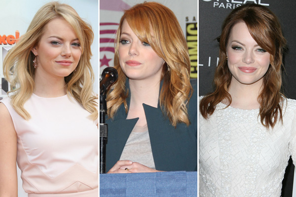 Emma Stone's hair colors throughout the years