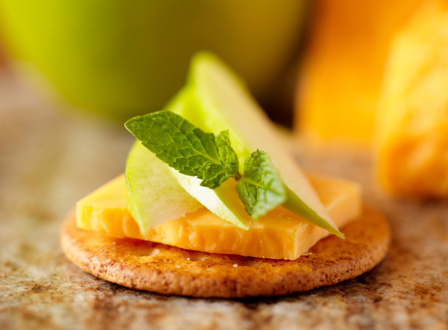 Cheese, crackers, and apples