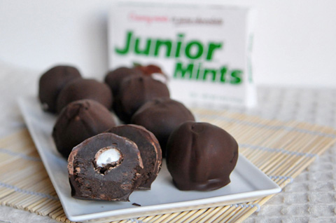 no bake junior mint brownie bites for family movie night