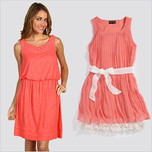 Coral pleated dresses