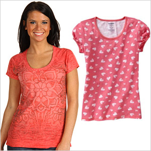 Coral print tees