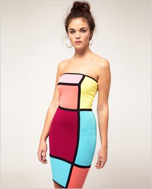 bright bandeau body con dress