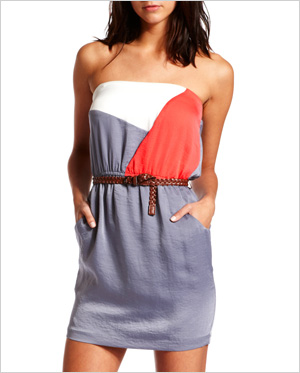 color block strapless dress