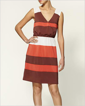 striped color block frock