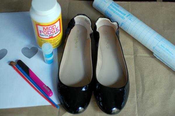 DIY Glitter flats -- supplies