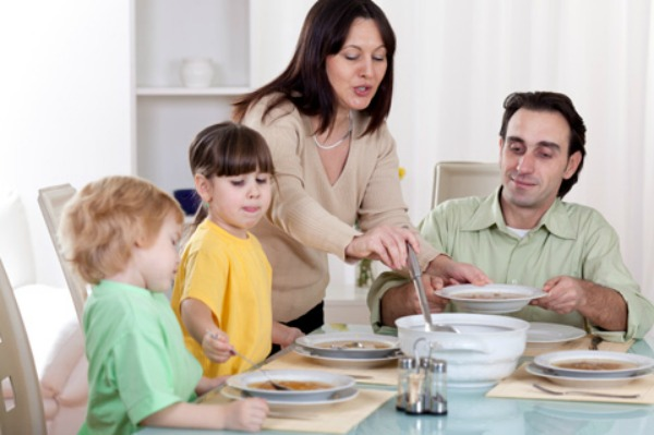 Family eating soup