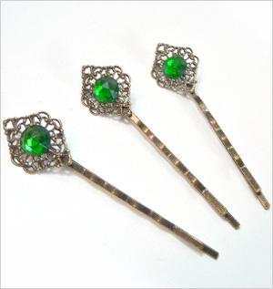 Emerald jewel hair pin