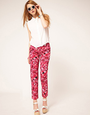 ASOS Cropped Pants In Pink Floral Rose Print
