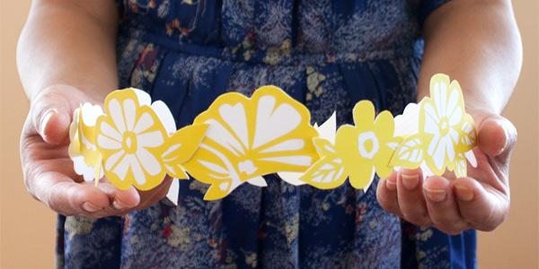 Finished DIY craft: floral paper crown