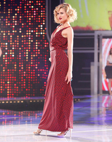 Nikki Poulos' red maxi dress