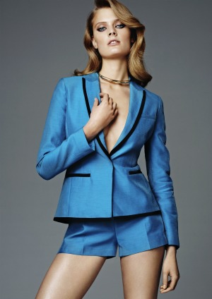 H&M Conscious blue tuxedo jacket and shorts
