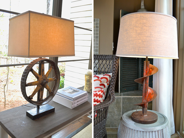 Machinery turned table lamps