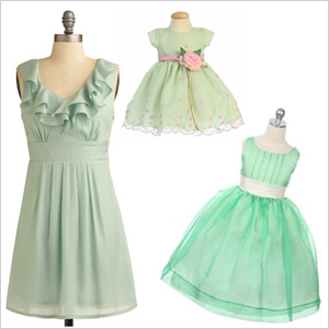 Ruffled mint green dresses