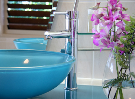 Modern bathroom with flowers