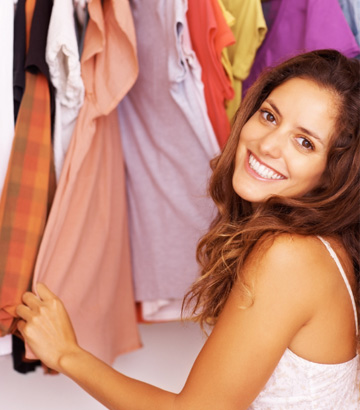 Woman shopping in her closet
