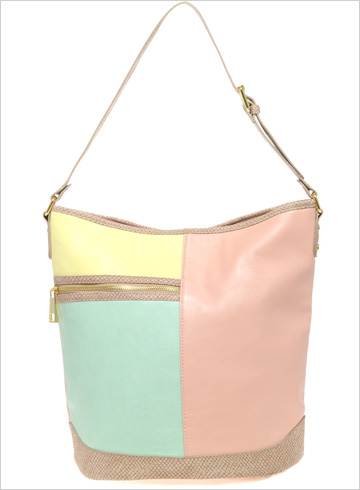Pastel color block bucket bag