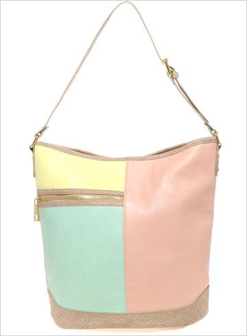 Pastel color block bucket bag