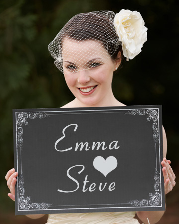 Bride with wedding sign