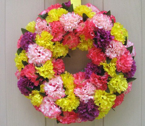 Spring carnation wreath