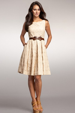 tan oval lace dress